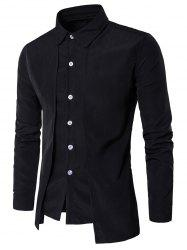 Faux Twinset Panel Design Long Sleeve Shirt - BLACK