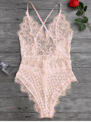 Scaolloped Eyelash Sheer Lace Teddy Bodysuit -