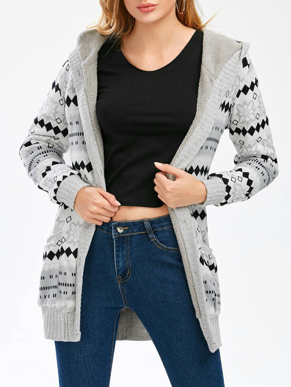 Hooded Button Up Geometric CardiganWOMEN<br><br>Size: L; Color: GRAY; Type: Cardigans; Material: Acrylic; Sleeve Length: Full; Collar: Hooded; Style: Casual; Pattern Type: Print; Season: Fall,Winter; Weight: 0.6000kg; Package Contents: 1 x Cardigan;