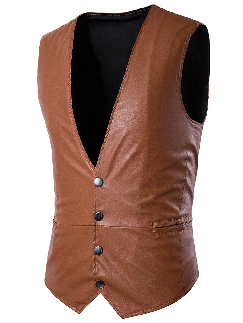 Hot PU Leather V Neck Single Breasted Belt Design Waistcoat