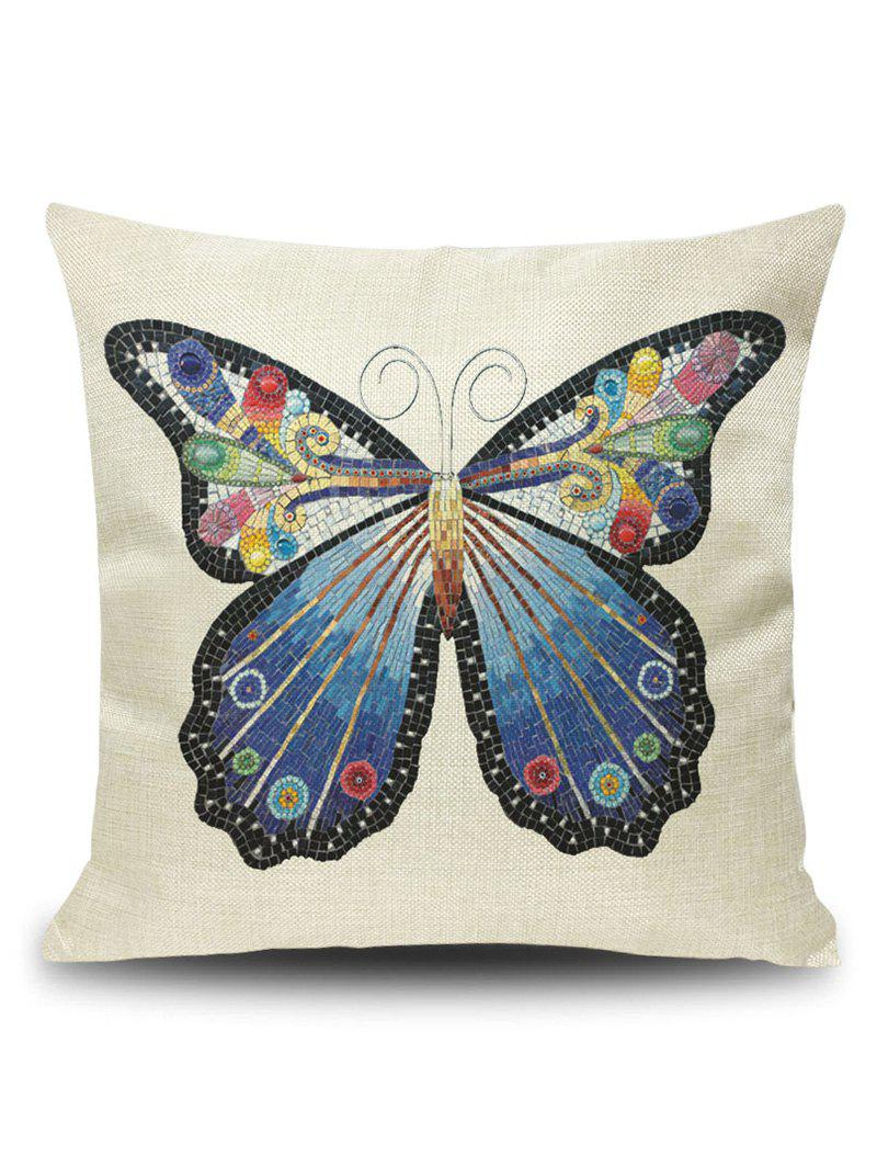 Art Butterfly Throw Pillowcase CoverHOME<br><br>Size: 45*45CM; Color: PALOMINO; Material: Polyester / Cotton; Fabric Type: Linen; Pattern: Animal; Style: Accent/Decorative; Shape: Square; Weight: 0.1200kg; Package Contents: 1 x Pillow Case;