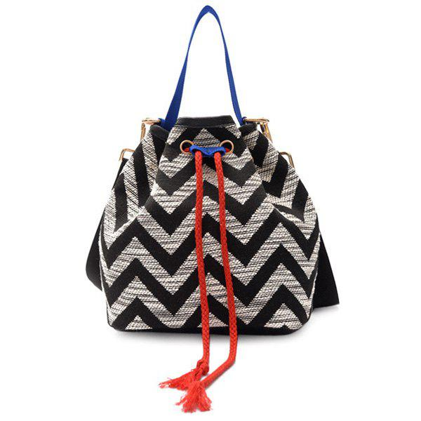 Cheap Chevron Stripe Cross Body Bucket Bag