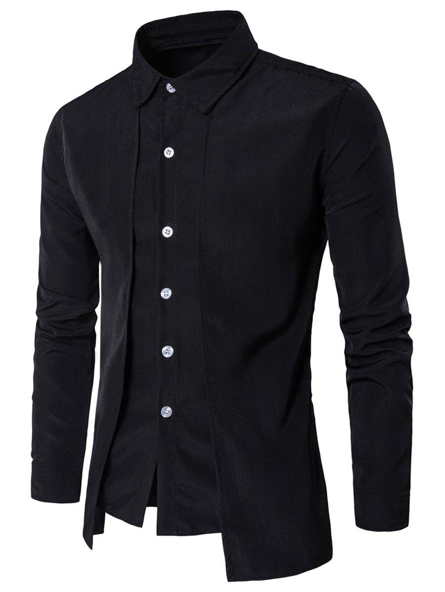 Faux Twinset Panel Design Long Sleeve ShirtMEN<br><br>Size: XL; Color: BLACK; Shirts Type: Casual Shirts; Material: Cotton,Polyester; Sleeve Length: Full; Collar: Turndown Collar; Pattern Type: Solid; Weight: 0.2210kg; Package Contents: 1 x Shirt;