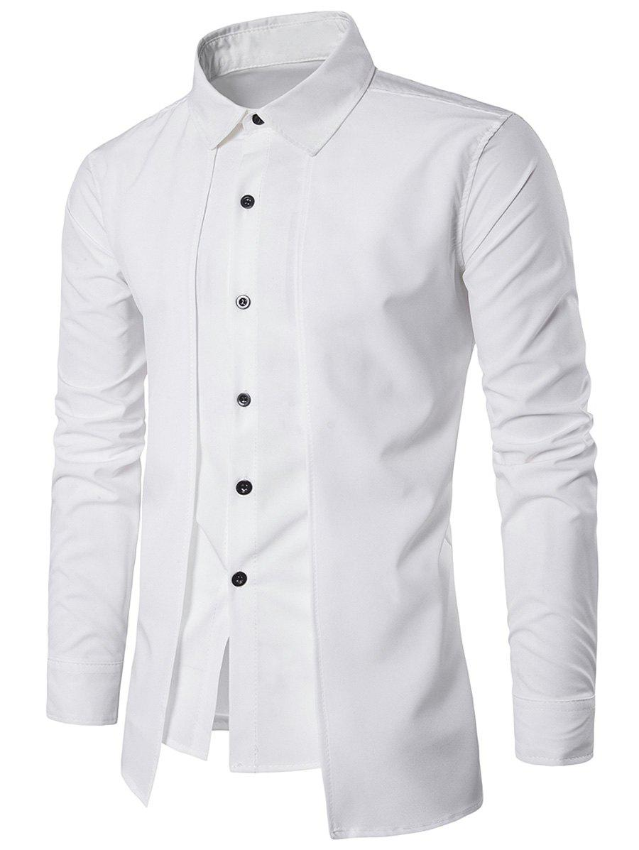 Faux Twinset Panel Design Long Sleeve ShirtMEN<br><br>Size: 2XL; Color: WHITE; Shirts Type: Casual Shirts; Material: Cotton,Polyester; Sleeve Length: Full; Collar: Turndown Collar; Pattern Type: Solid; Weight: 0.2210kg; Package Contents: 1 x Shirt;