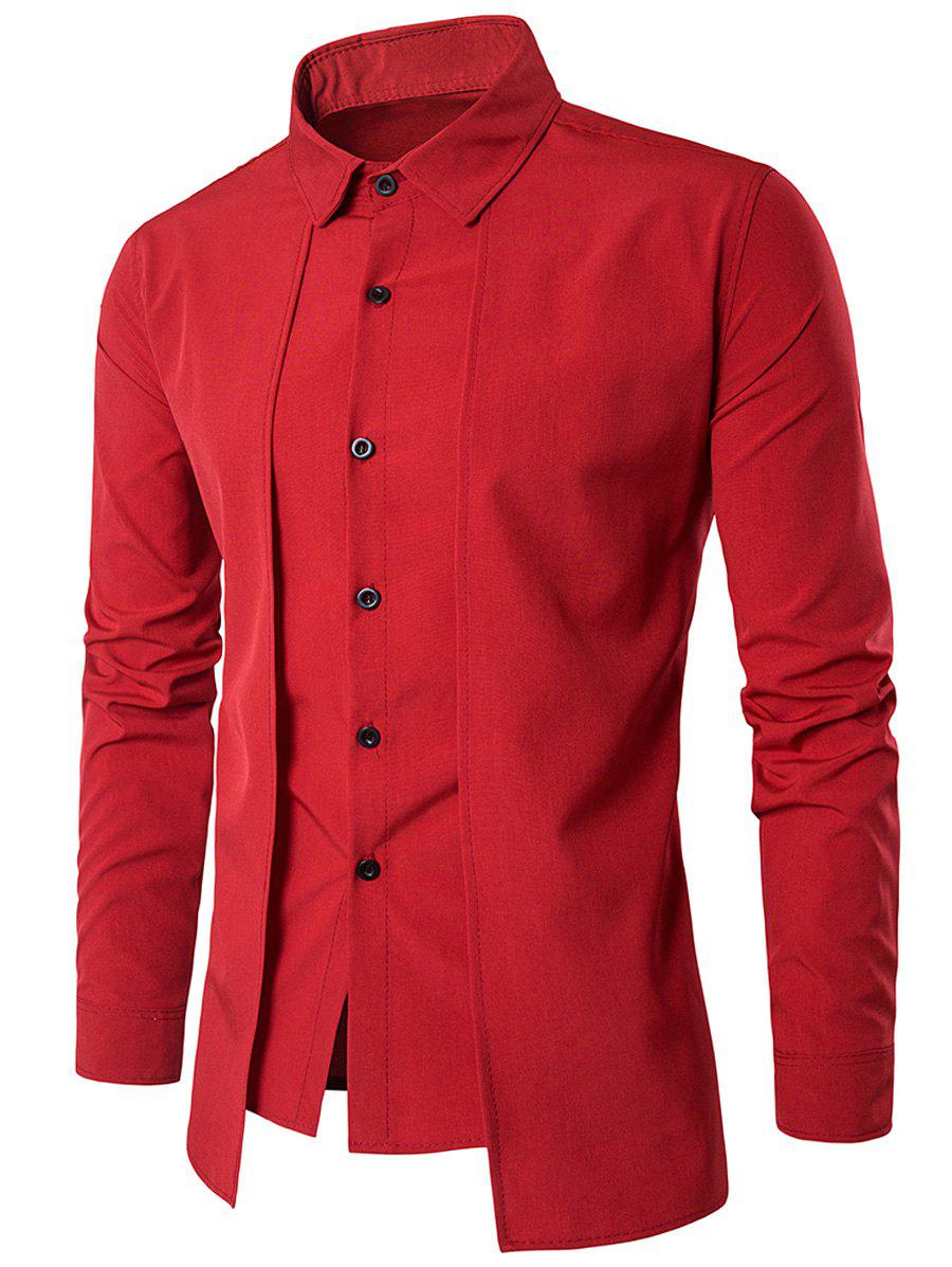 Faux Twinset Panel Design Long Sleeve ShirtMEN<br><br>Size: XL; Color: RED; Shirts Type: Casual Shirts; Material: Cotton,Polyester; Sleeve Length: Full; Collar: Turndown Collar; Pattern Type: Solid; Weight: 0.2210kg; Package Contents: 1 x Shirt;