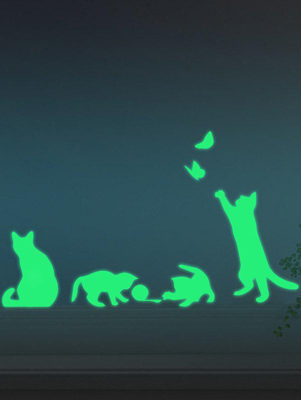 2019 glow in the dark cat animal wall stickers for kids | rosegal