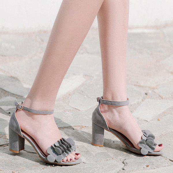 Buy Flowers Mid Heel Ankle Strap Sandals