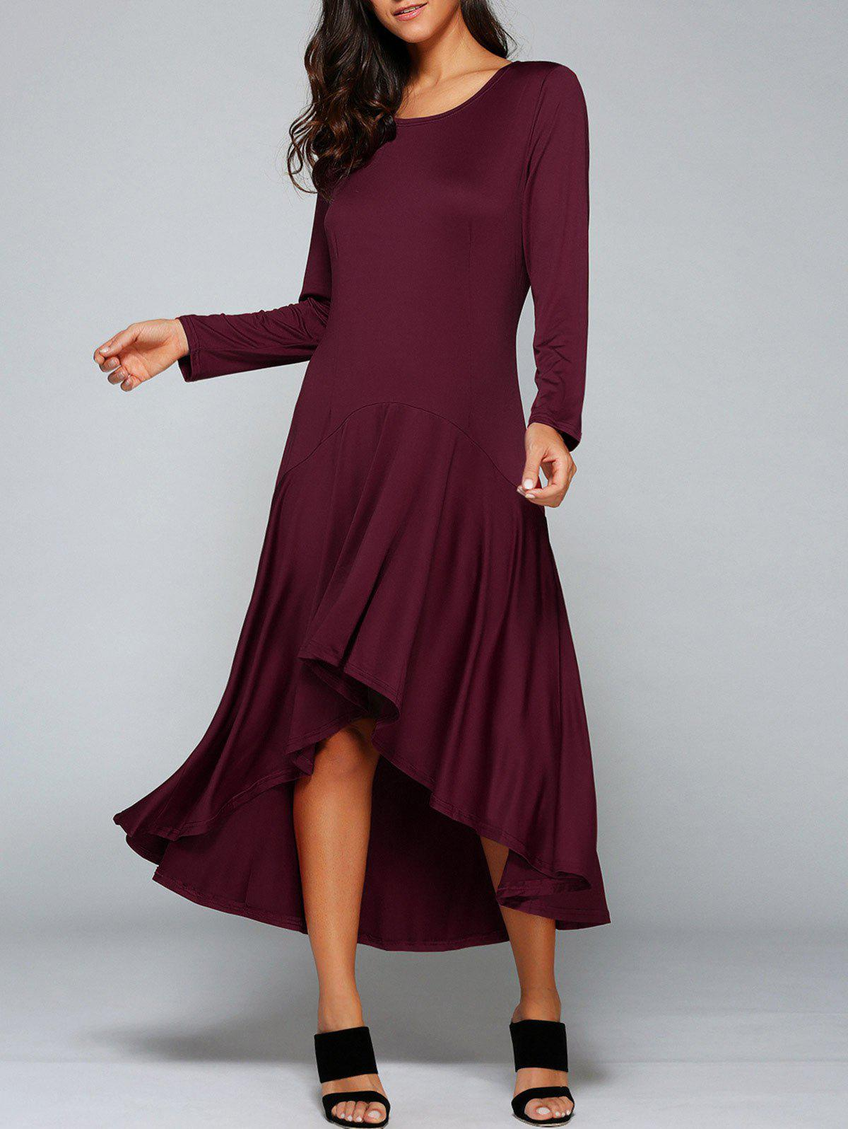 Wine Red M High Low Long Sleeve Maxi Prom Dress | RoseGal.com