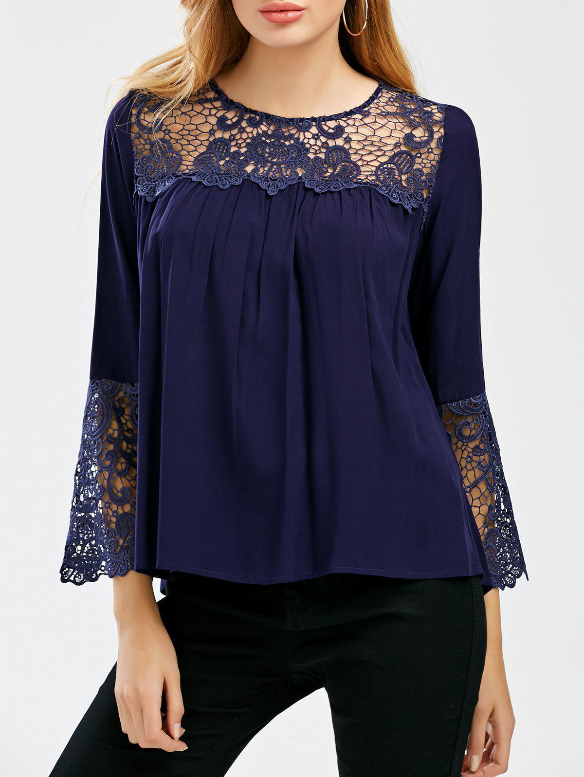 Hot Lace Crochet Trim Bell Sleeve Smock Blouse
