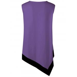 Plus Size Asymmetrical Longline V Neck T-Shirt - PURPLE 5XL
