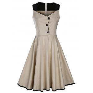 Sleeveless Button Embellished Vintage Dress - Apricot - S