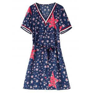 Star Flag Print Plus Size Belted Dress
