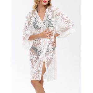 Embroidered Sheer Long Kimono Beach Cover Up