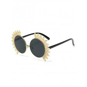 Round Mirror Metallic Sun Design Frame Beach Sunglasses