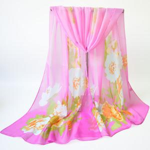 Blooming Floral Printing Chiffon Shawl Scarf - Light Pink - 3xl