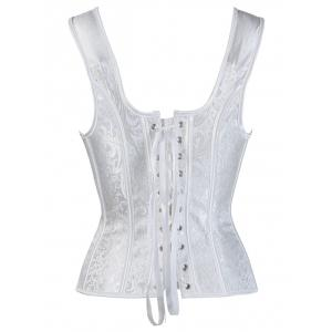 Jacquard Lace Up Steel Boned Corset - WHITE 2XL