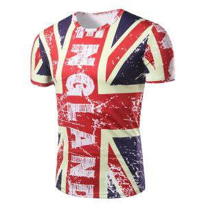 Graphic Distressed England Flag Print Patriotic T-Shirt