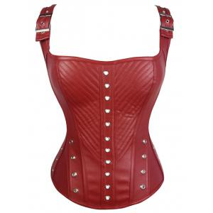 Lace-Up Faux Leather Corset Top