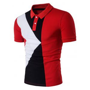 Color Block Panel Design Polo T-Shirt - Red - L