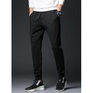 Zip Up Pockets Drawstring Beam Feet Jogger Pants