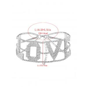 Sparkly Rhinestoned Alloy Love Necklace - SILVER