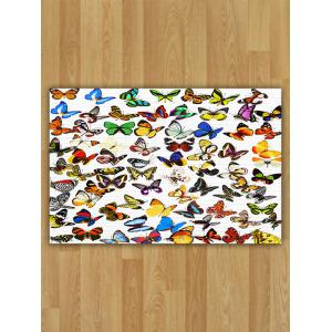 Flannel Water Absorption Butterfly Pattern Area Rug - Colorful - W16 Inch * L24 Inch