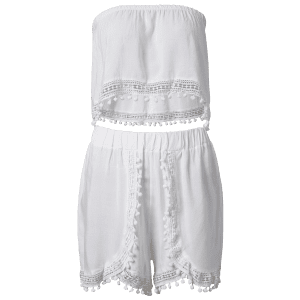 Stylish White Off The Shoulder Tank Top and High Waist Lace Spliced Women's Shorts - WHITE L