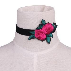 Leaves Rose Flower Embroidery Velvet Choker Necklace - Black - 2xl