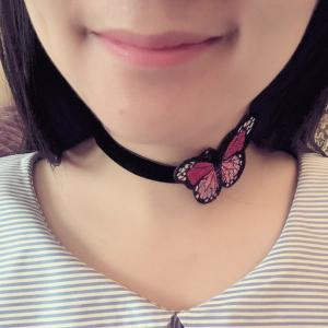 Embellished Butterfly Embroidery Velvet Choker Necklace - BLACK