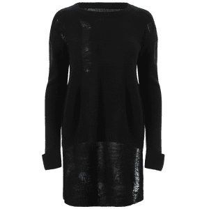 Ripped High Low Long Sweater -