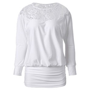 Long Sleeve Lace Insert T-Shirt - WHITE M