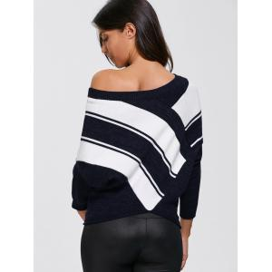 Color Block Skew Neck Sweater - PURPLISHBLUE + WHITE XL