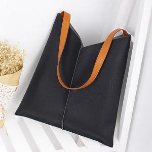Contrast Strap Faux Leather Shopper Bag - BLACK
