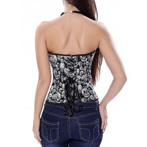 Criss Cross Corset with Skulls Graphic -