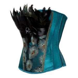 Feather Sequined Embroidered Lace-Up Corset - PEACOCK BLUE 2XL
