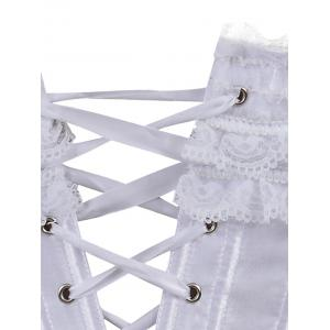 Bowknot Lace Panel Lace-Up Corset -