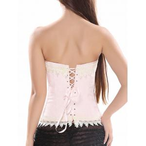 Strapless  Lace Trim Lace Up Jacquard Corset - SHALLOW PINK S