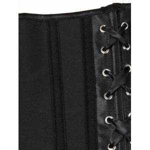 Steel Boned Lace Up Corset - BLACK S