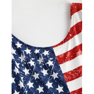 Distressed Lace Up Batwing American Flag Patriotic T-Shirt -