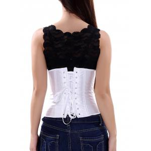 Steel Boned Lace Up Corset - WHITE 2XL