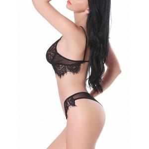 Transparent Lace See Through Bra Set - BLACK L