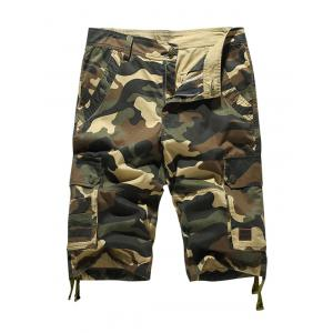 Zipper Fly Pockets Camo Cargo Shorts