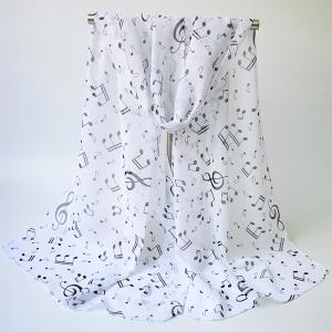 Lightsome Tiny Musical Notes Printing Chiffon Scarf