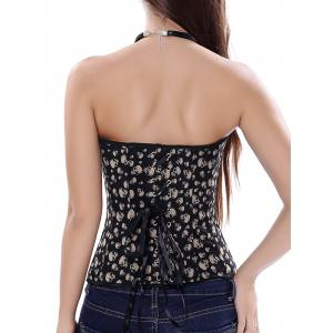 Skull Printed  Strapless Lace Up Corset -
