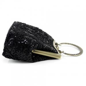 Metal Trim Sequins Beaded Evening Bag -
