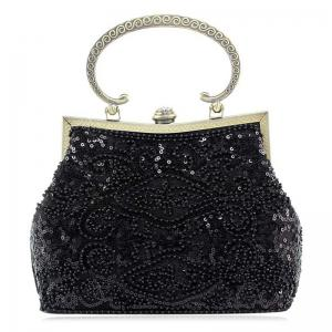 Metal Trim Sequins Beaded Evening Bag - Black
