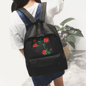 Canvas Rose Embroidered Backpack - Black