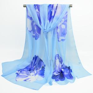 Gossamer Showy Flower Printing Chiffon Scarf - Windsor Blue - S