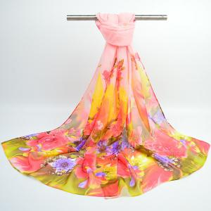 Fine Gauze Spring Blossom Printing Ombre Shawl Scarf - LIGHT APRICOT PINK