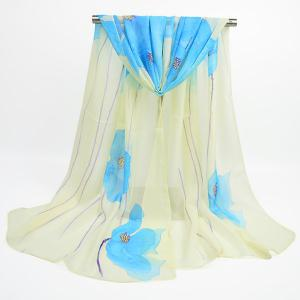 Gossamer Watercolour Flowers Printing Chiffon Scarf - Off-white - S